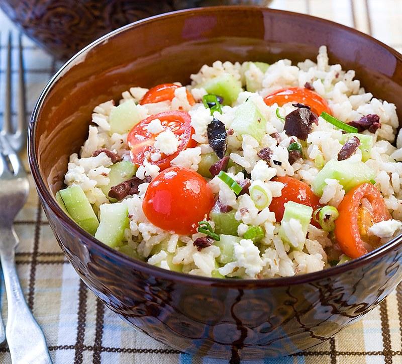 Insalata di riso alla greca, ricetta light