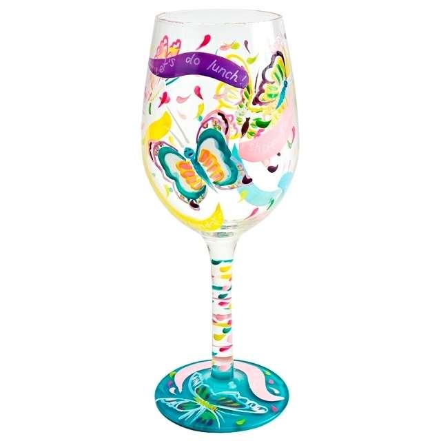 bicchiere colorato farfalle