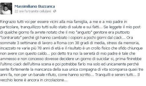 Massimiliano Buzzanca su Facebook