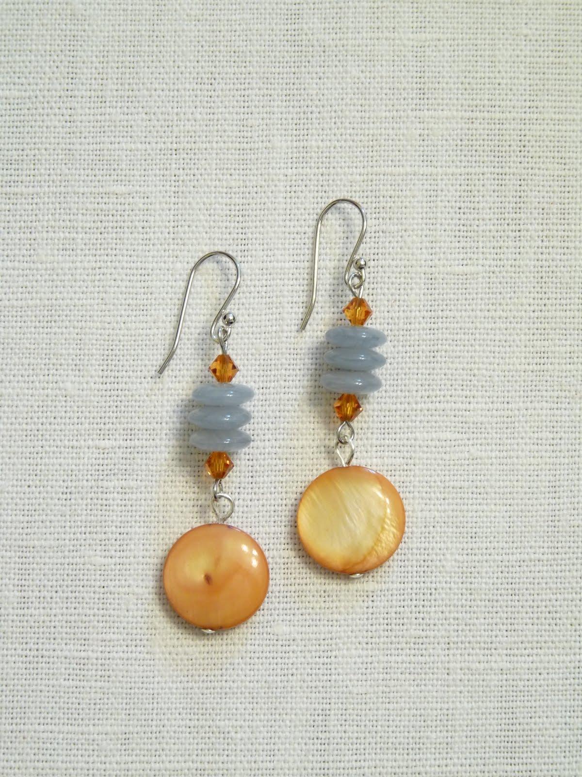 orecchini perline oro azzurro