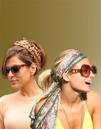 foulard indossato sulla testa