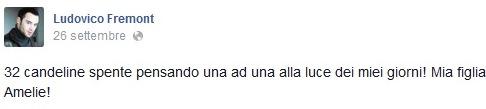 Ludovico Fremont papà della figlia Amelie su Facebook