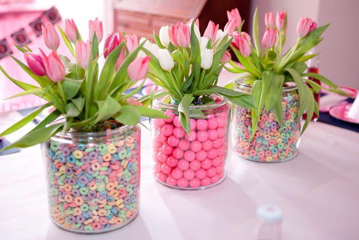 centrotavola tulipani caramelle