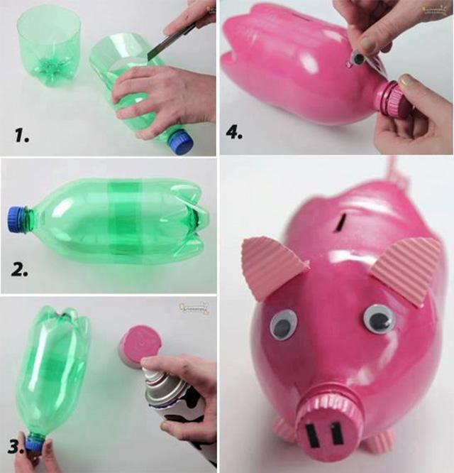 salvadanaio maialino bottiglia plastica