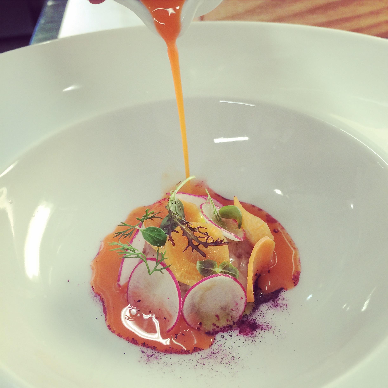 Crudo di gamberi, arancia e carota