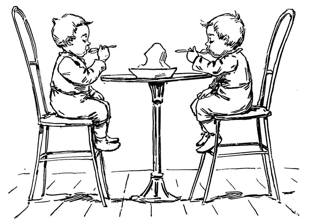 Bambini a tavola immagini da colorare foto pourfemme - Mollettone per stirare sul tavolo ...