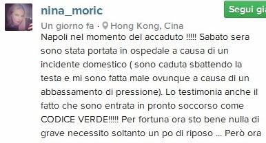 Nina Moric e il giallo del tentato suicidio incidente domestico