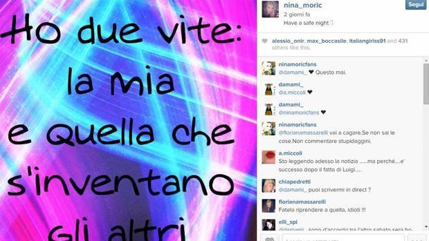 Nina Moric ultimo post su Instagram prima del tentato suicidio