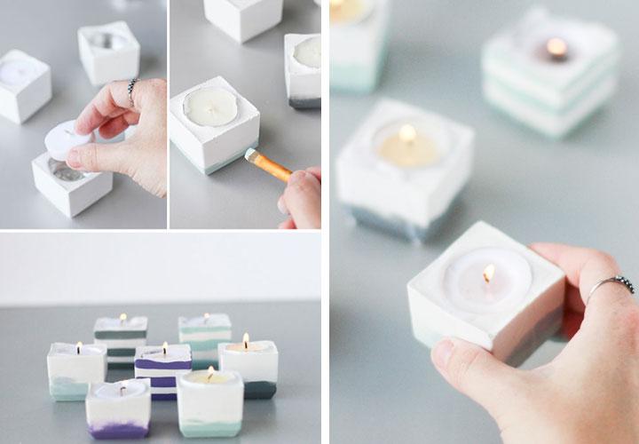 candele diy cubo colorato