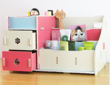 Multicolor Drawer Wooden Makeup Organizer boxes New 2014 DIY Novelty Households Creative Desktop Storage box Cosmetics
