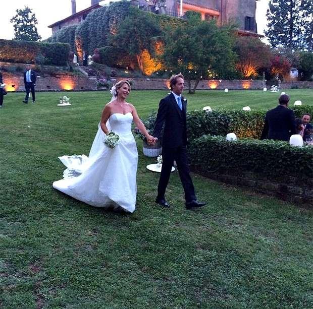Monica Leofreddi e Gianluca Delli Ficorelli nel giorno del matrimonio