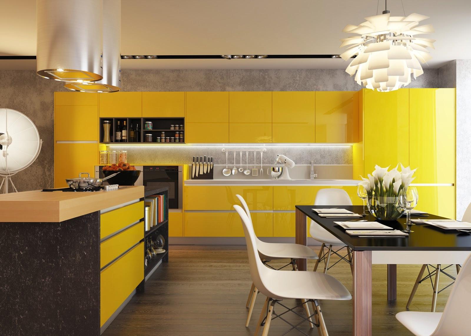 19 Yellow kitchen units