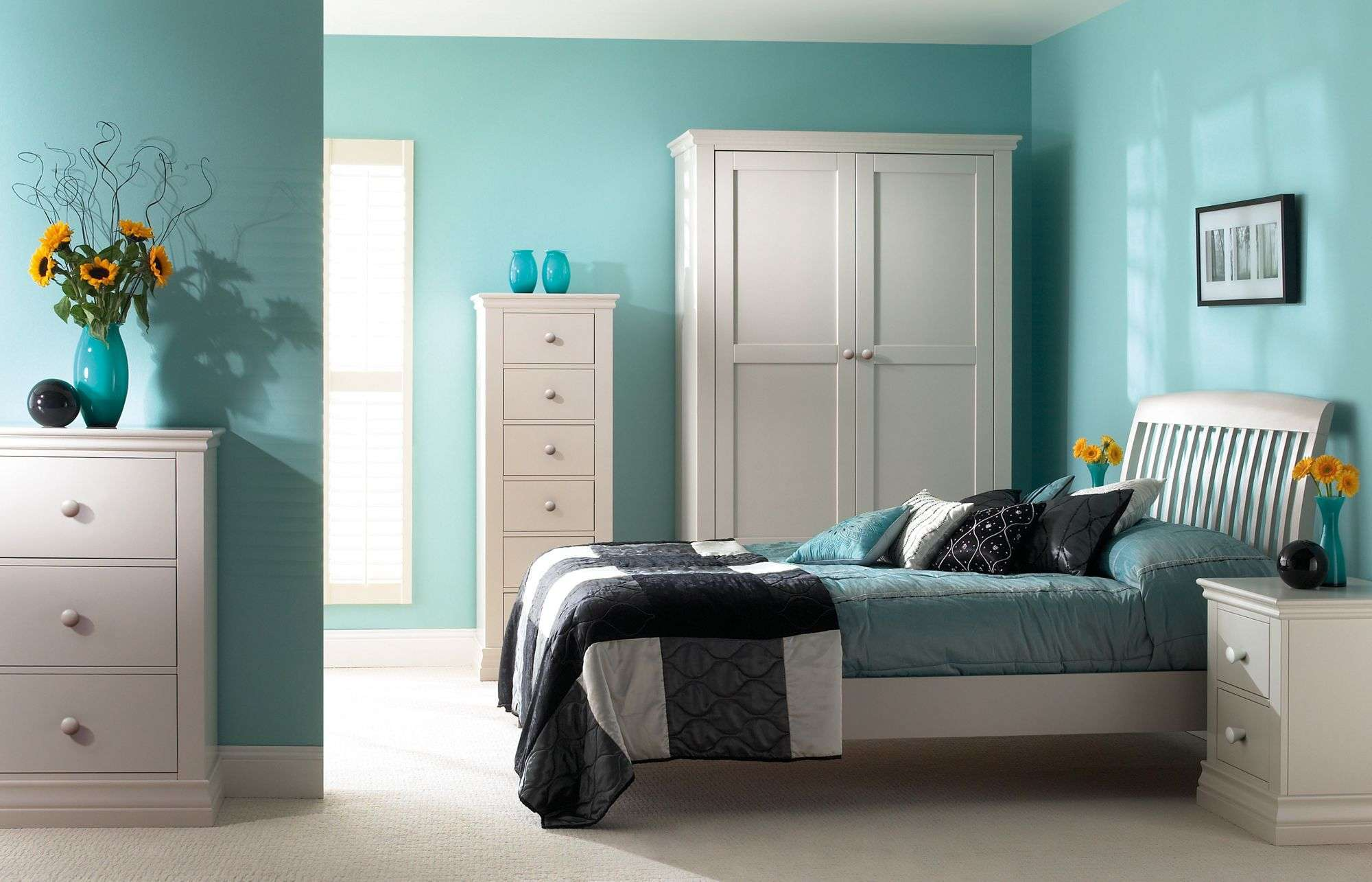 Relaxing Light Blue Bedroom Ideas for Teenage Girls with Black and White Bedding and Flower Decoration