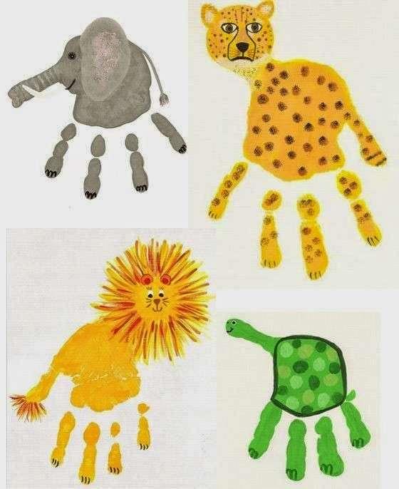 Animaletti dipinti con le mani