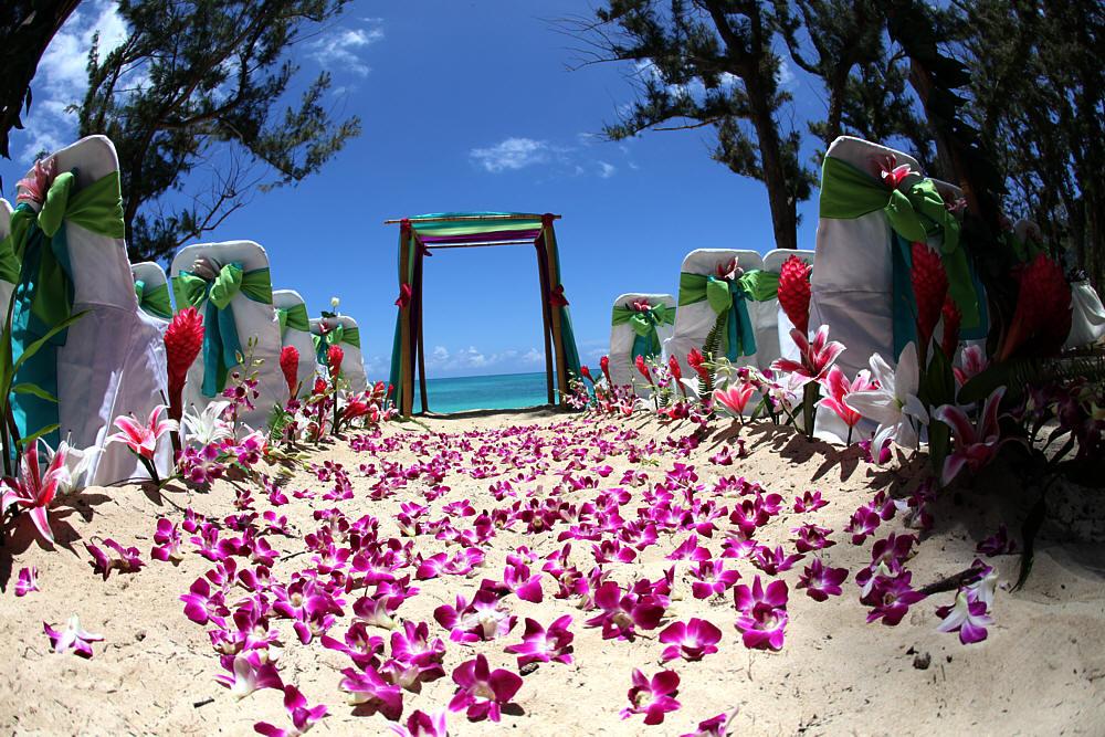 decorazioni floreali in spiaggia
