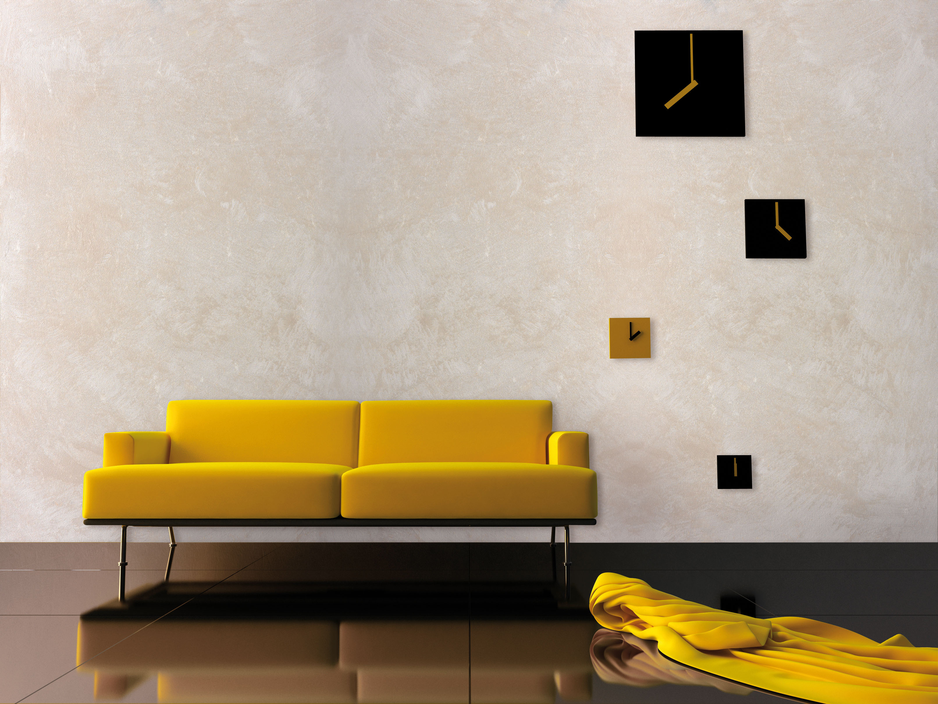 Interior Yello velvet, sofa and time zone clock