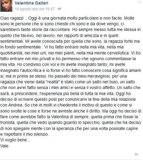 Valentina Dallari di Uomini e Donne comunica la fine della storia con Andrea Melchiorre su Facebook