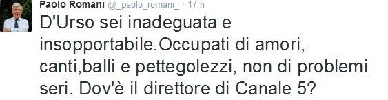 Paolo Romani vs Barbara D'Urso sui fatti di Parigi Twitter
