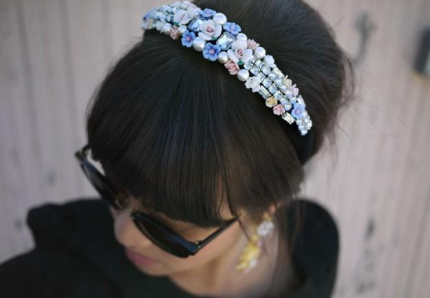 cerchietto con fiori e perline