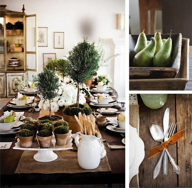 tavola con elementi naturali