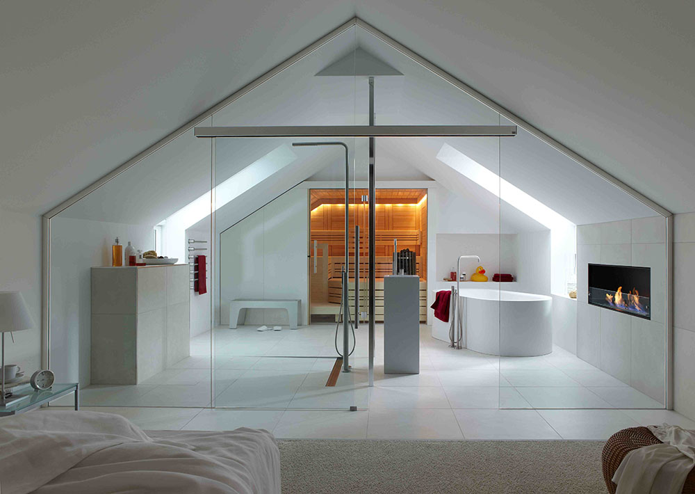Bathroom in attic bedroom.
