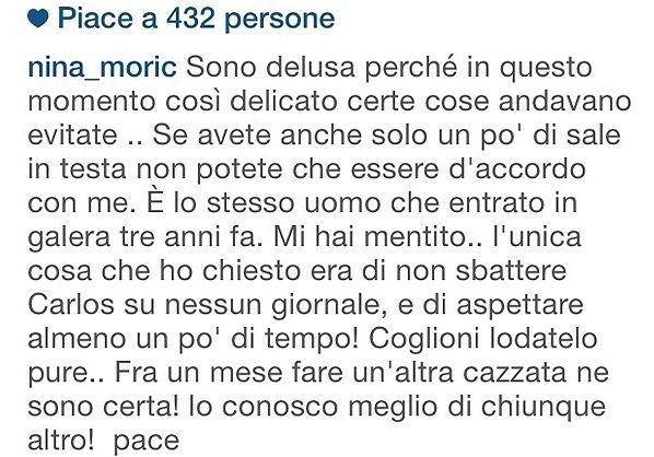 Nina Moric vs Fabrizio Corona per il figlio Carlos su Instagram