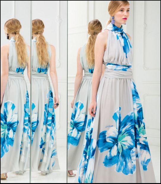 abito lungo morbido fiori blu