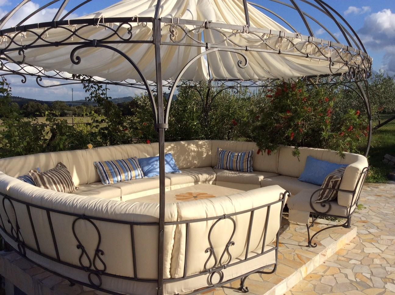 Gazebo in ferro battuto con panca Gazebo 6 Garden House Lazzerini