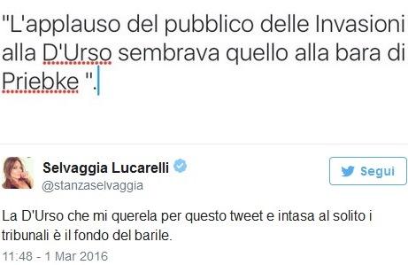 Selvaggia Lucarelli querelata da Barbara D'Urso, il tweet ironico dell'opinionista tv