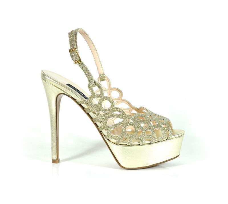 Sandalo argento con ricami tondi