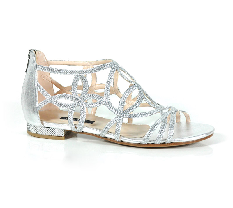 sandalo flat argento