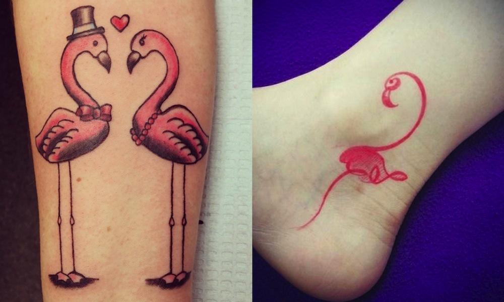tatuaggio fenicottero rosa