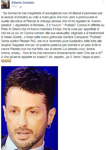Alberto Dandolo critica e attacca Fabrizio Corona su Facebook