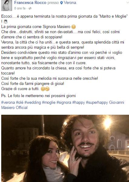 Francesca Rocco e Giovanni Masiero, il giorno dopo il matrimonio