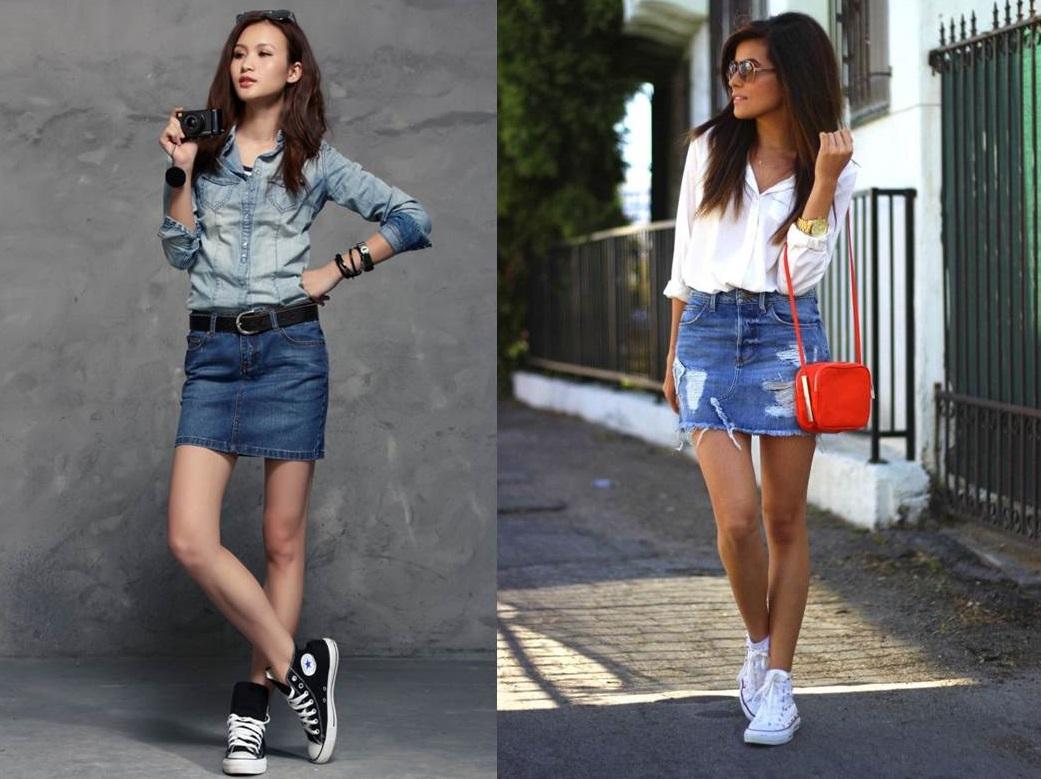 look sporty chic con minigonna di jeans
