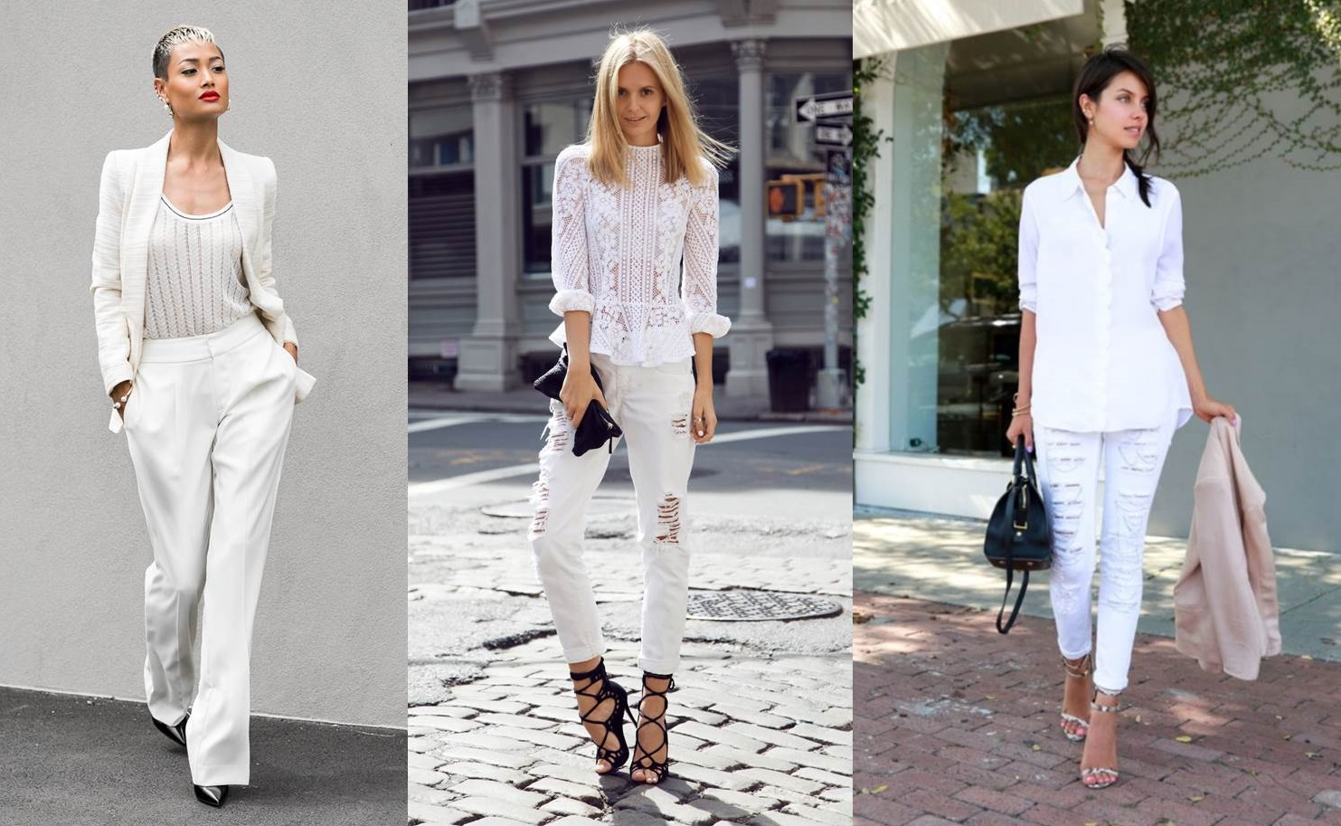 Look in total white con pantaloni bianchi