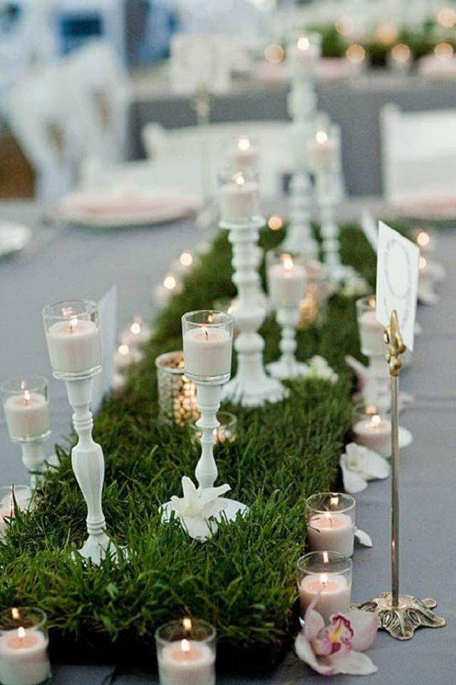 decorazione tavola con erba