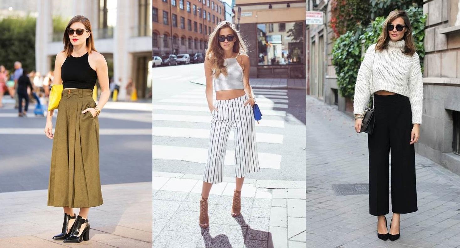 pantaloni culotte e crop top