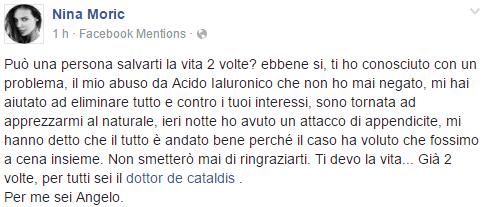 Nina Moric sta bene, il suo post su Facebook