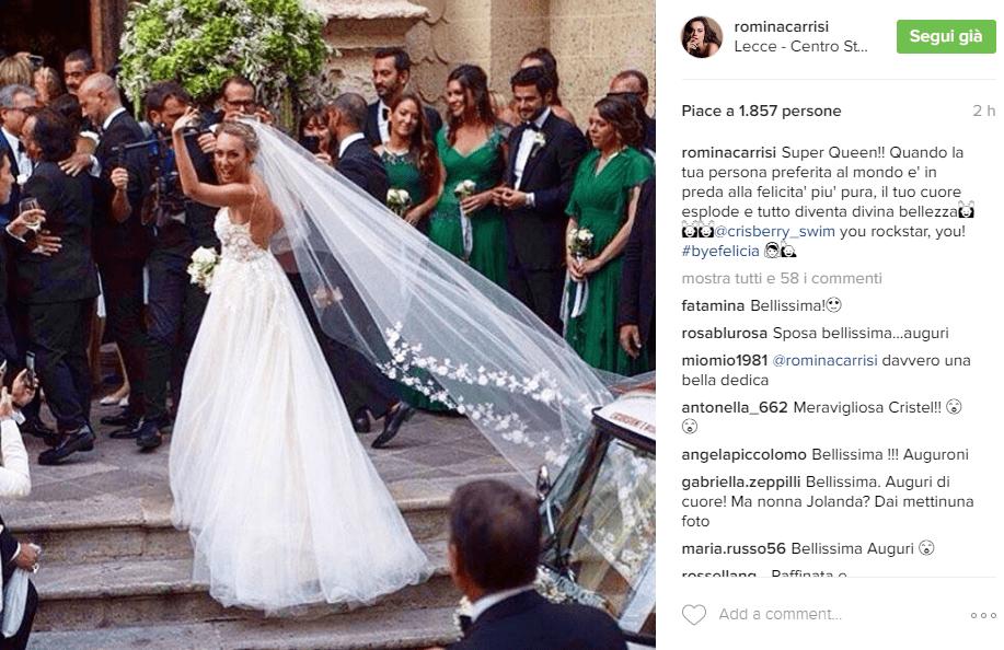 Cristel Carrisi sposa, gli auguri social della sorella Romina