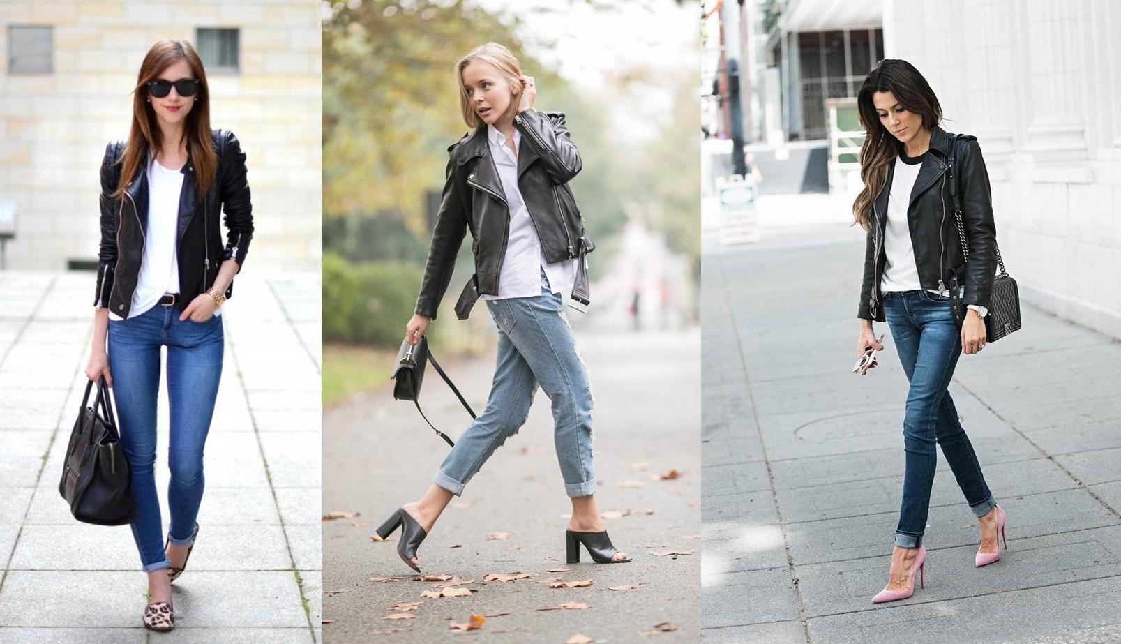 Giacca di pelle e jeans