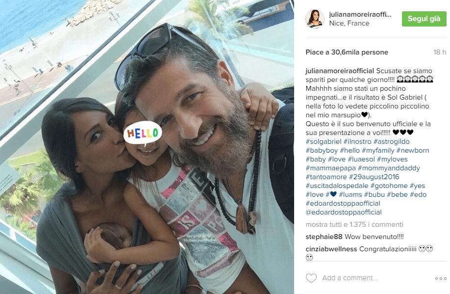 Juliana Moreira ha partorito, Edoardo Stoppa è papà bis di Sol Gabriel post Instagram
