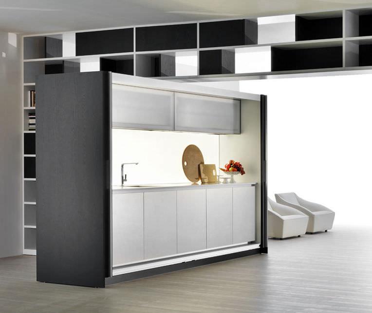 Hidden kitchen with recessed doors