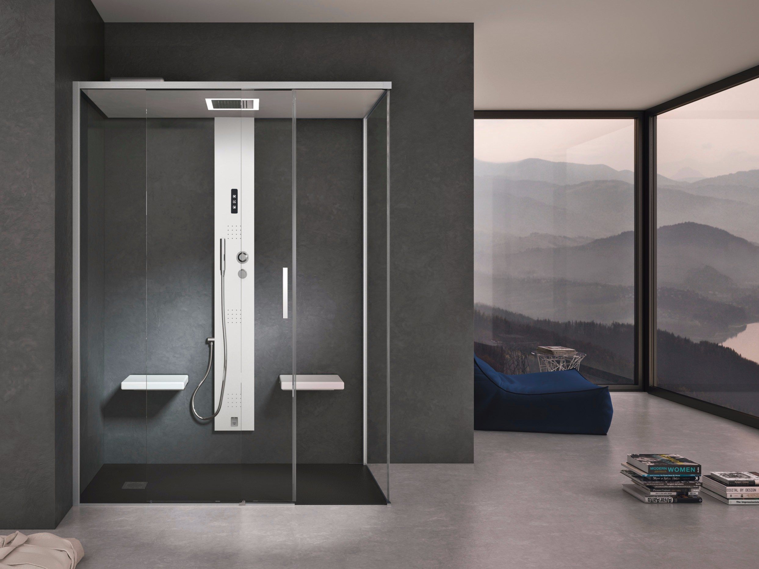 Box doccia con bagno turco con porte scorrevoli GEMINI + GSTEAM HAFRO