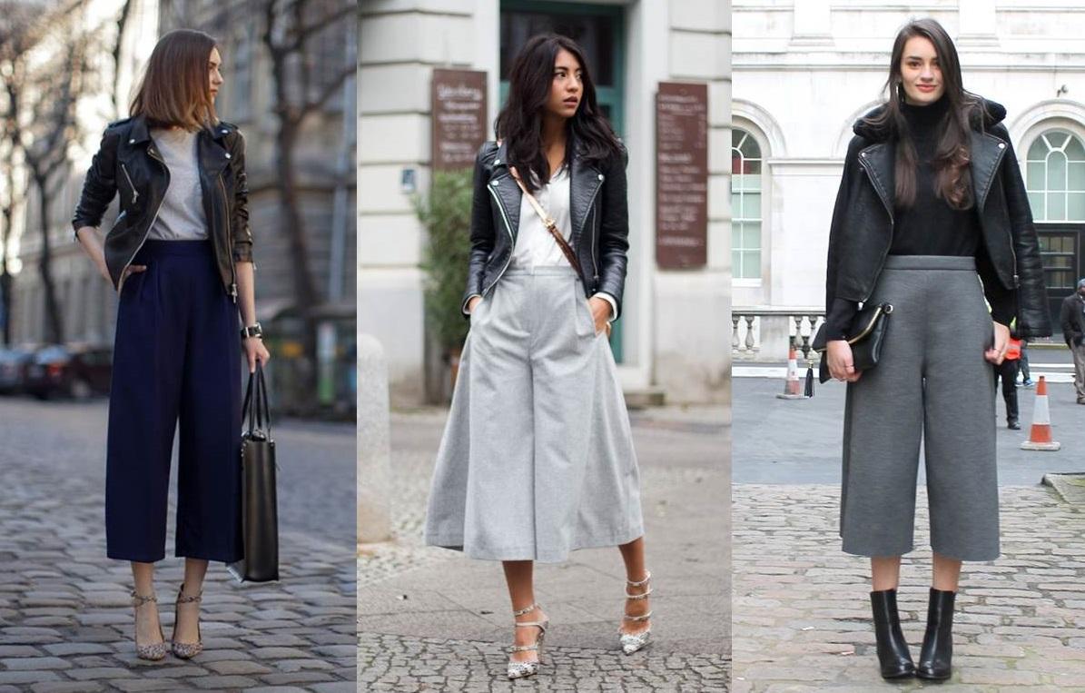 Pantaloni culotte e giacche di pelle