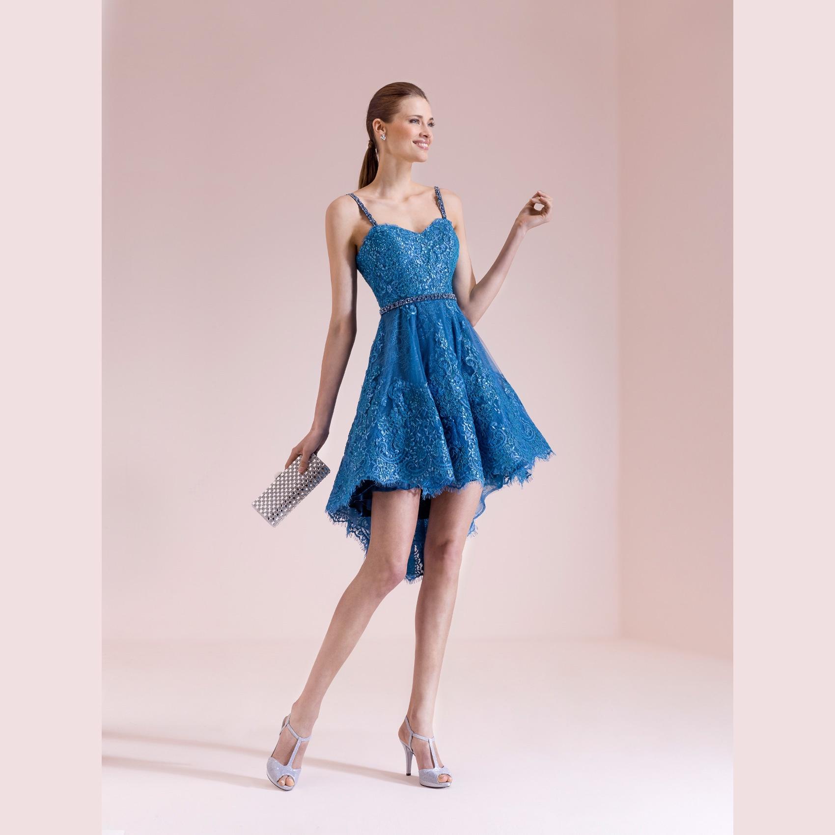 abito corto prezioso blu