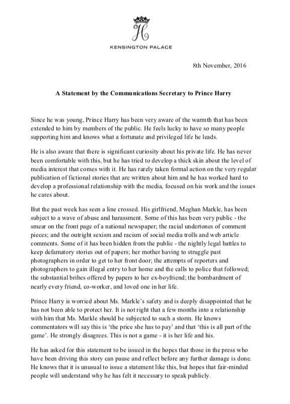Il principe Harry interviene pubblicamente sulla sua relazione con Meghan Markle