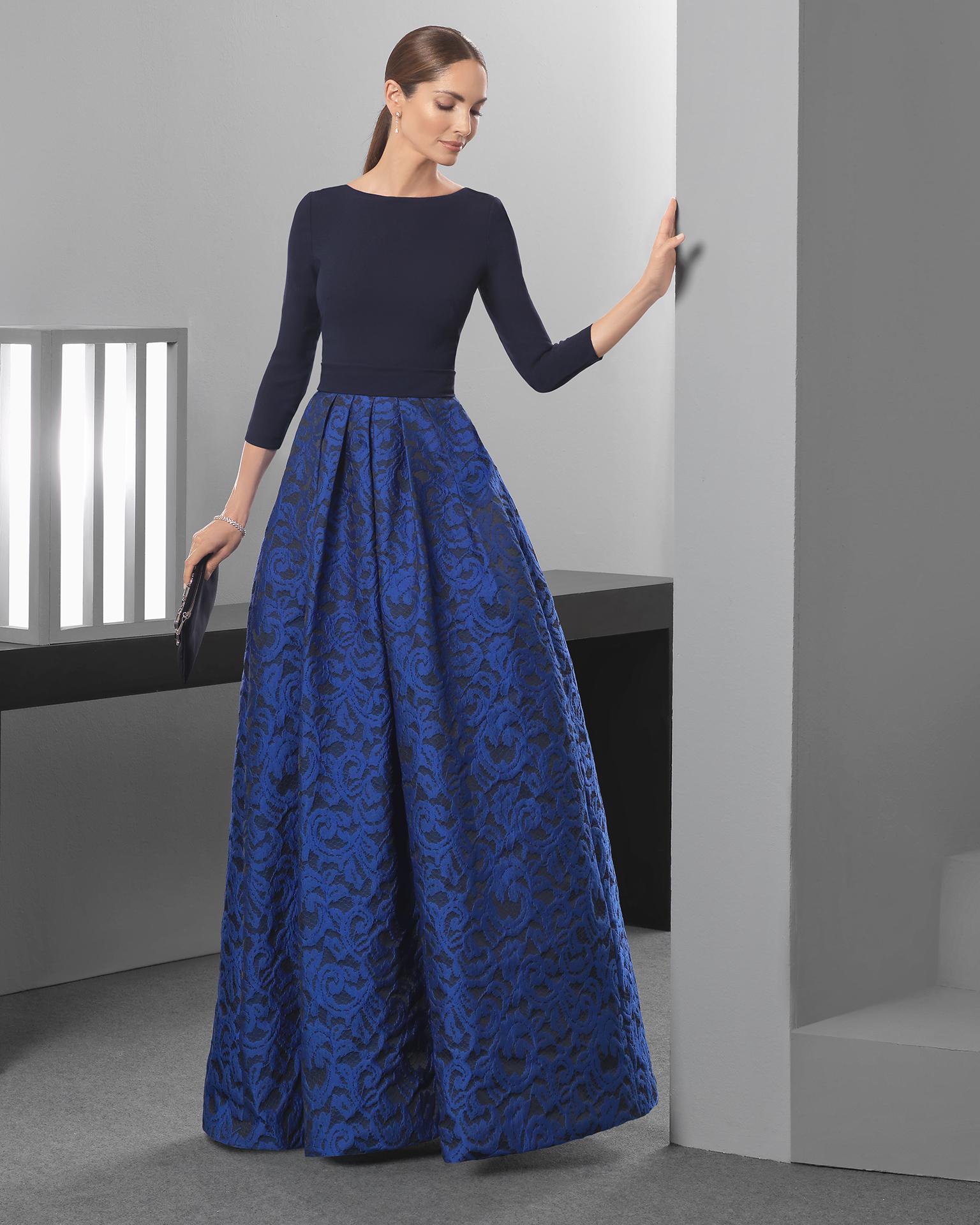 abito due pezzi blu damascato