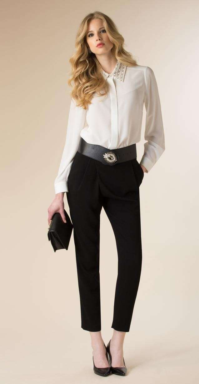 camicia in crepe de chine e pantalone nero