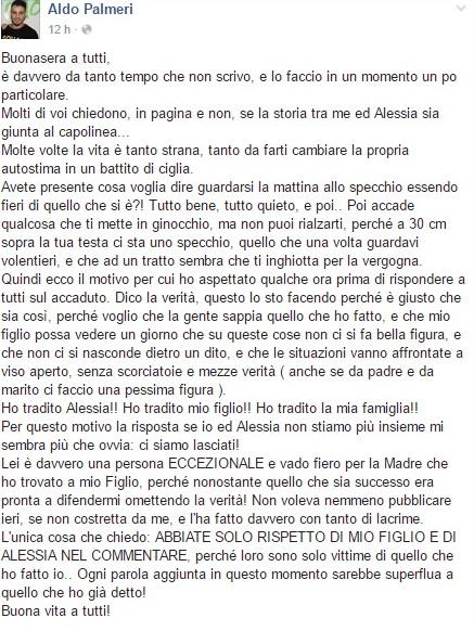 Aldo Palmeri confessa il tradimento ai danni della moglie Alessia Cammarota